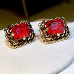 🎁Vintage Red and Gold Earrings